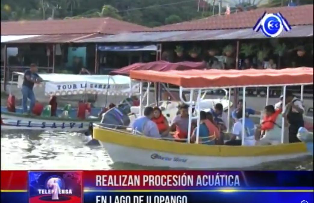 Realizan procesión acuática en lago de Ilopango