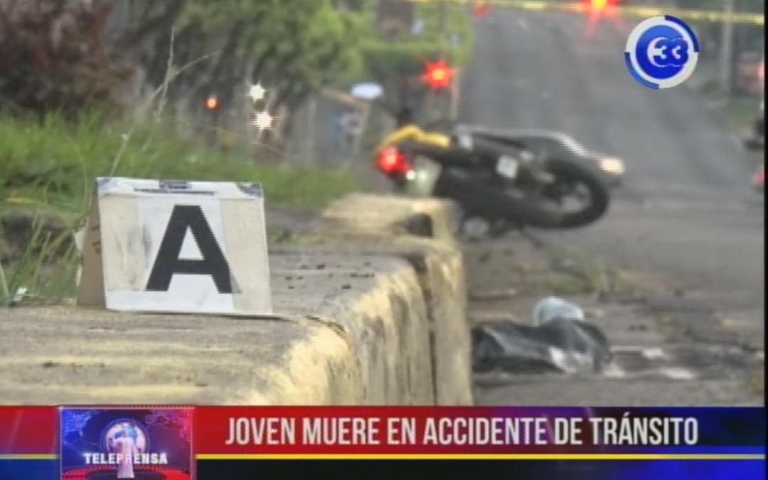 Joven muere en accidente de tránsito
