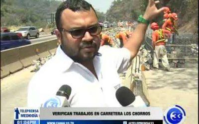 Verifican trabajos en carretera Los Chorros