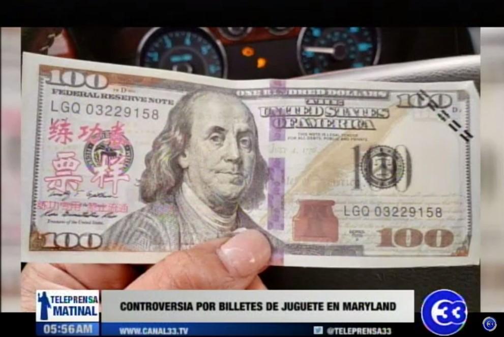 Controversia por billetes de juguete en Maryland